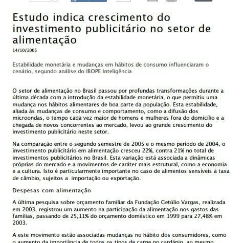 Foto de uma matéria: Estudo indica crescimento do investimento publicitário no setor de alimentação.