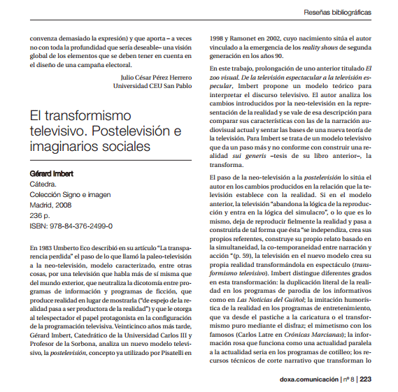 Imagem da capa de um documento em espanhol: El transformismo televisivo. Postelevisión e imaginarios sociales.