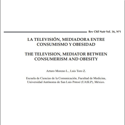 Capa do texto em espanhol e ingle: La televisón, mediadora entre consumismo Y obesidad. The television, mediator between consumerism and obesity.