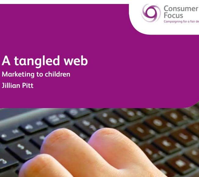 Capa do documento em inglês: A tangled web. Marketing to children.