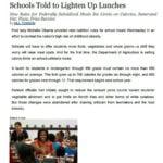 """Imagem de uma matéria em inglês:  """"Schools Told to Lighten Up Lunches""""."""