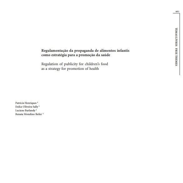 Capa de um informativo com o título: Regulamentação da propaganda de alimentos infantis com estratégias para a promoção da saúde.