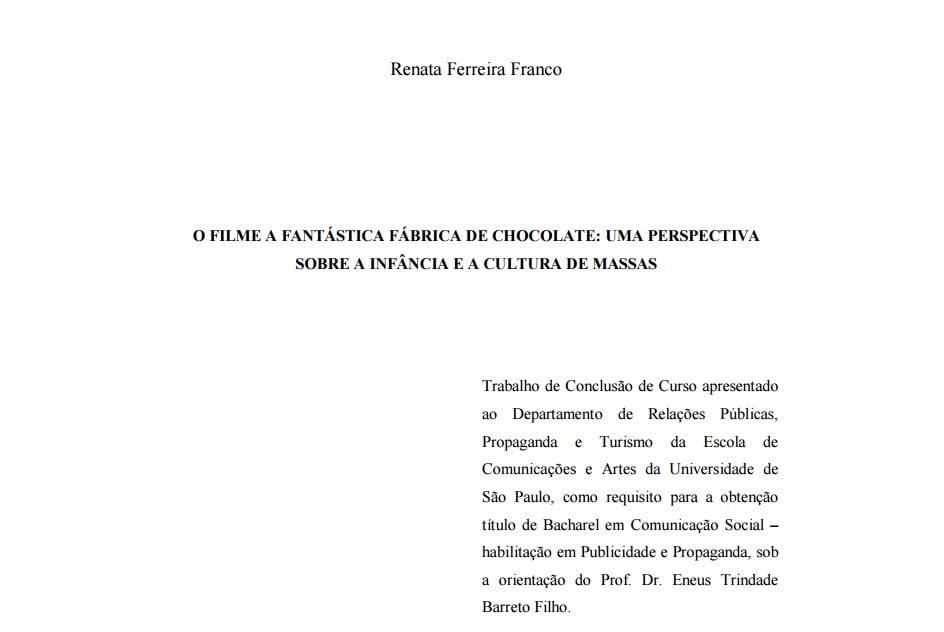 Imagem da capa do documento: O filme a fantástica fábrica de chocolate: Uma perspectiva sobre a infância e a cultura de massas.