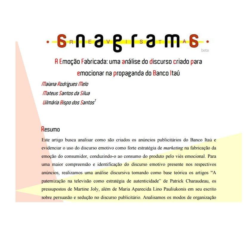 Imagem da capa da revista anagrama: A emoção fabricada: uma análise do discurso criado para emocionar na propaganda do Banco Itaú.