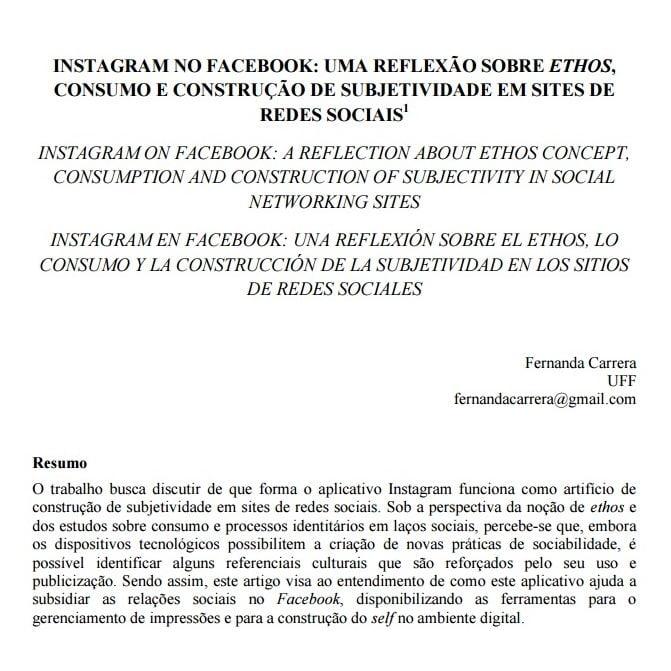 Imagem da capa do documento: Instagram no Facebook: Uma reflexaõ sobre Ethos, consumo e construção de subjetividade em sites de redes sociais.