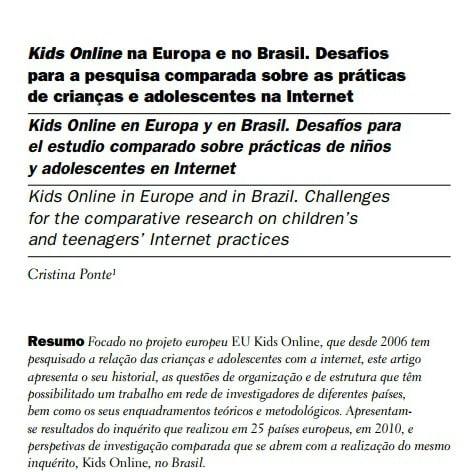 Capa  do documento: Kids Online na Europa e no Brasil. Desafios para a pesquisa comparada sobre as práticas de crianças e adolescentes na Internet.