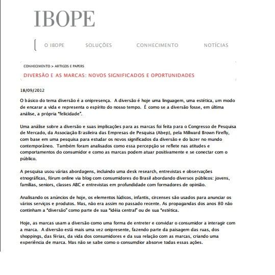 Capa da matéria IBOPE: Diversão e as marcas: novos significados e oportunidades.