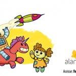 Cartaz de um robô montando em um unicórnio vermelho, e uma boneca de bano acena, um foguete está sobrevoando ao fundo, o robô fala uma mensagem em um balão de dialogo: Trocar é mais divertido que comprar!
