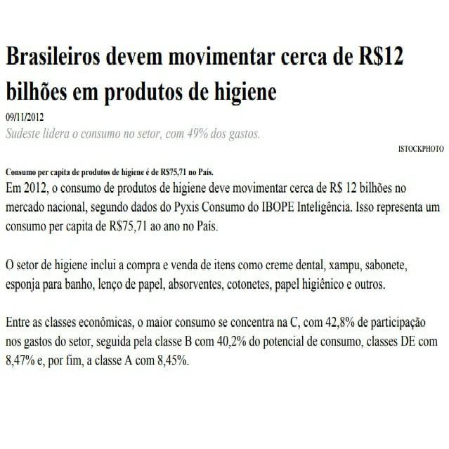 Foto de uma matéria: Brasileiros devem movimentar cerca de R$12 bilhões em produtos de higiene.
