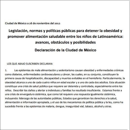 primeira página do informativo em espanhol: Legislación, normas y políticas públicas para detener la obesidad y promover alimentación saludable entre los niños de Latinoamérica:avances, obstáculos y posibilidades. Declaración de la Ciudad de México.