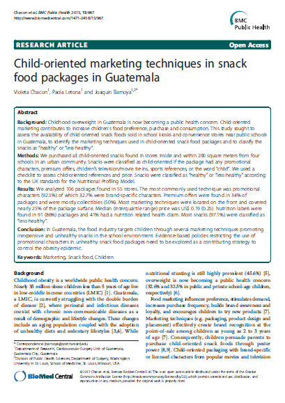 Imagem da capa do documento em inglês: Child-oriented marketing techniques in snack food packages in guatemala.