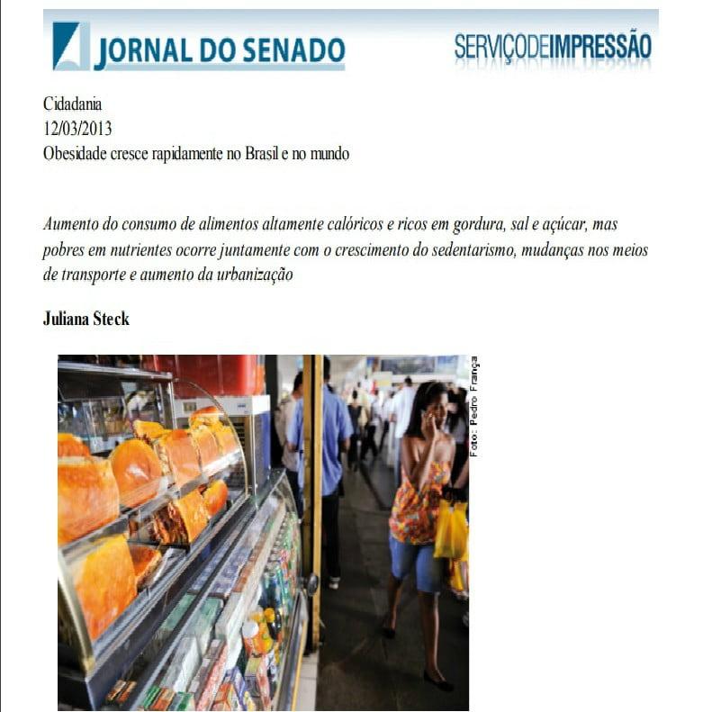 Foto da matéria do Jornal do Senado: Obesidade cresce rapidamente no Brasil e no mundo.