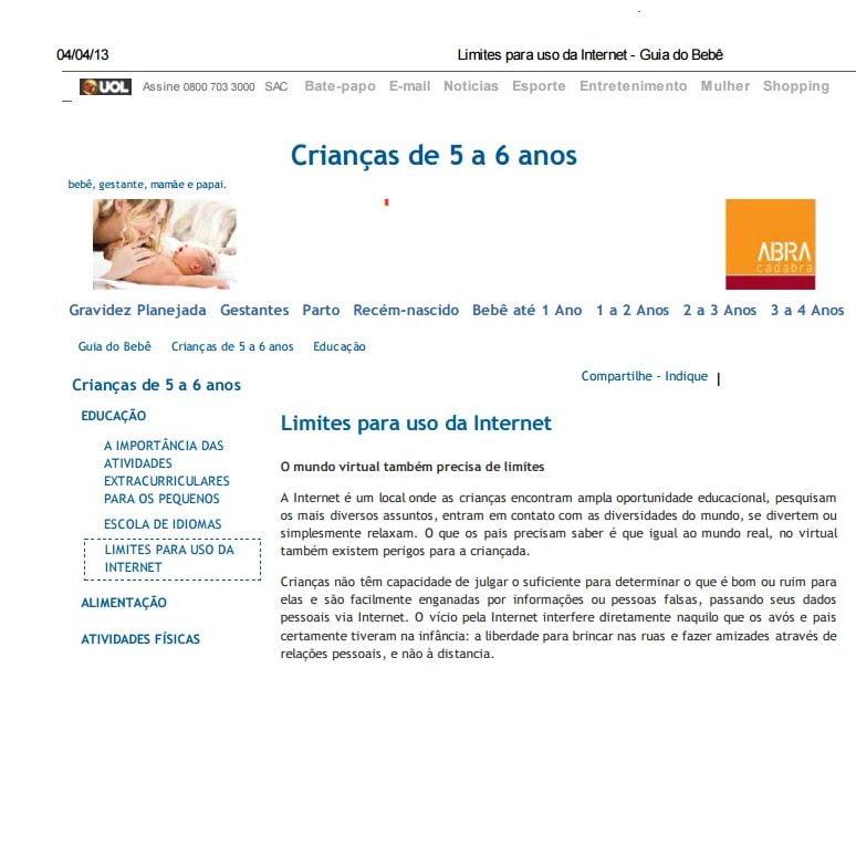 Foto de uma matéria da UOL: Limites para o uso da Internet.