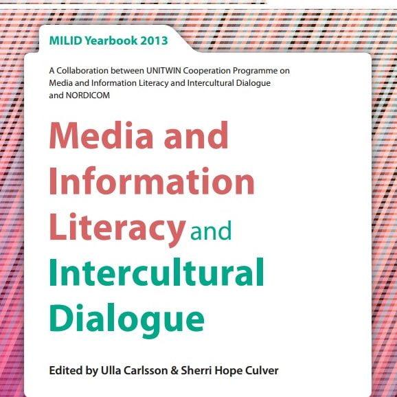 Imagem da capa do MILID livro do ano de 2013 em inglês: Media and Information Literacy and Intercultural Dialogue.