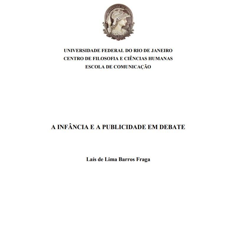 Imagem da capa do documento: A Infância e a publicidade em debate.