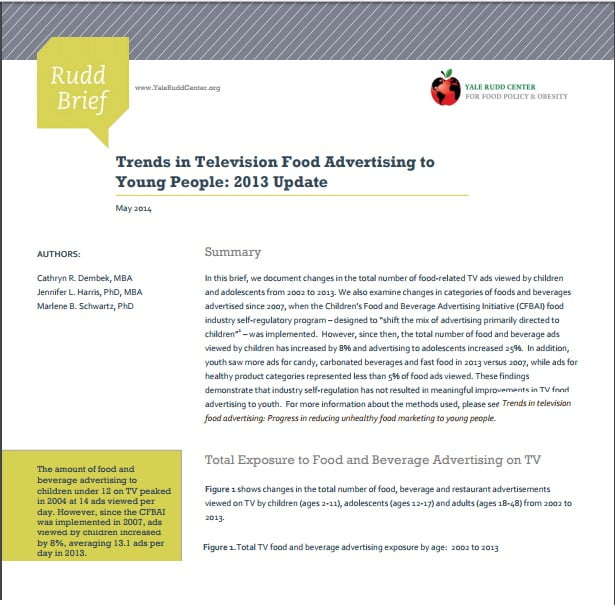 Capa do informativo em inglês: Trends in Television Food Advertising toYoung People: 2013 Update.