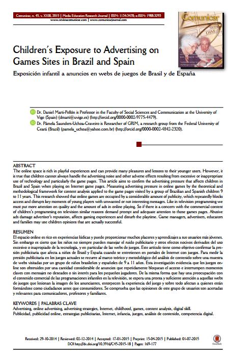 Imagem da capa do documento em inglês: Children's Exposure to Advertising on Games Sites in Brazil and Spain.