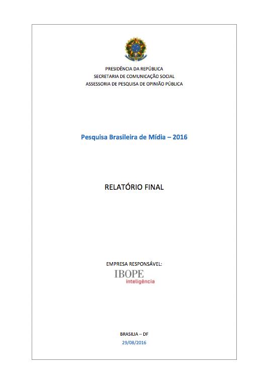 Imagem da capa do documento: Pesquisa Brasileira de Mídia - 2016.