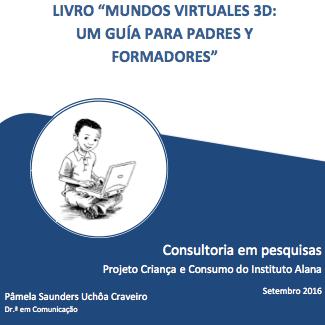 """Capa do livro em espanhol: """"Mundos virtuales 3d: Um guía para padres y formadores""""."""