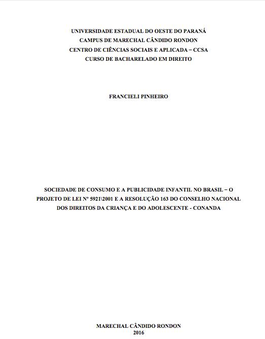 Imagem do documento: Universidade estadual do oeste do Paraná campus de marechal cândido Rondon centro de ciências sociais e aplicada - CCSA curso de bacharelado em direito.