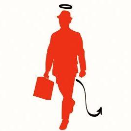 Desenho da silhueta de um homem vermelho, caminha segurando uma mala e usa um chapéu, ele tem uma aréola de anjo e um rabo pontudo.