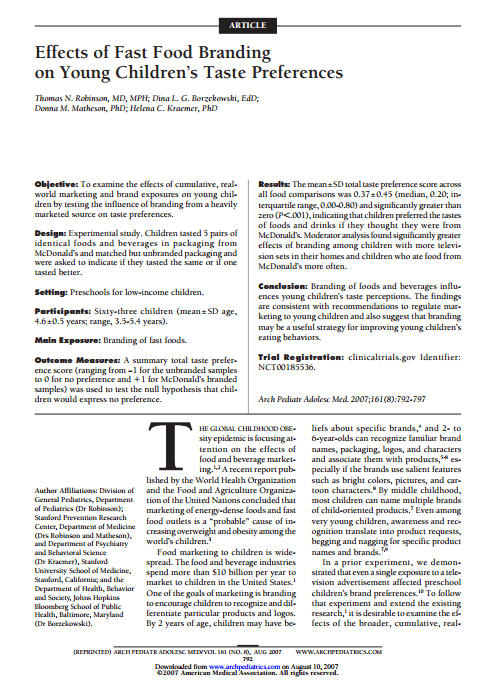 Imagem da capa do documento em inglês: Effects of Fast Food Branding on Young Children's Taste Preferences.