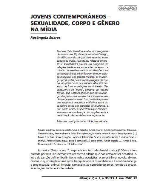 Imagem da capa do documento: Jovens contemporâneos - Sexualidade, Corpo e Gênero na Mídia.