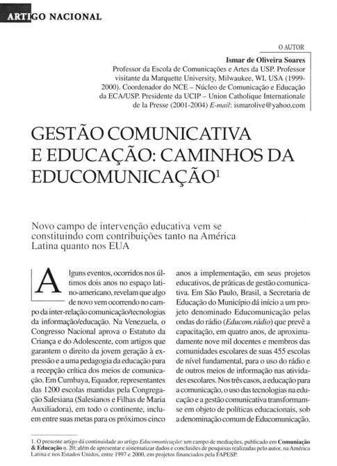 Imagem da capa do documento: Gestão comunicativa e educação: Caminhos da educomunicação.