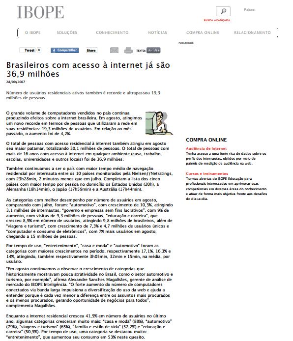 Foto de uma matéria IBOPE: Brasileiros com acesso à internet já são 36,9 milhões.