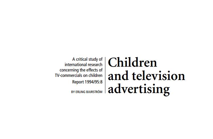Imagem da capa do documento em inglês: Children and television advertising.