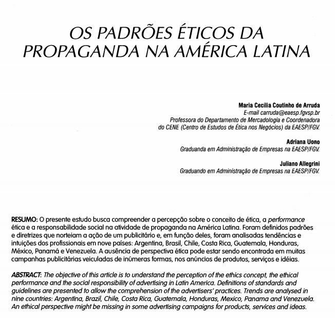 Imagem da capa do documento: Os padrões éticos da propaganda na América latina.
