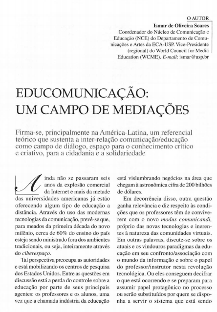 Imagem da capa do documento: Educomunicação: Um campo de Mediações.