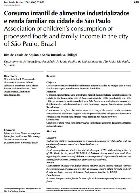 Imagem da Capa do documento: Consumo infantil de alimentos industrializados e renda familiar na cidade de São Paulo.