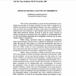 Imagem da capa do documento: Análise de Discurso: A questão dos fundamentos.