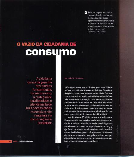 Imagem da capa do livro: O vazio da cidadania de consumo.