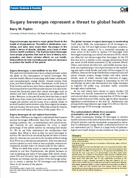 Imagem da capa de um documento em inglês: Sugary beverages represent a threat to global health.