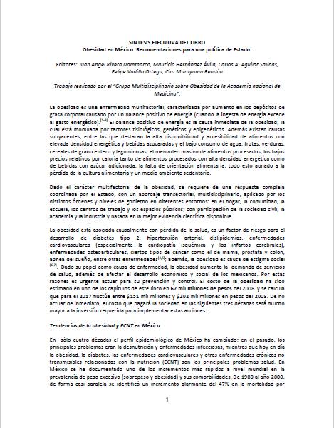Imagem da capa do documento em espanhol: Sintesis ejecutiva del libro: Obesidad en México: Recomendaciones para una política de Estado.