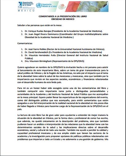 Imagem da capa do documento em espanhol: Comentarios a la presentación del libro obesidad en mexico.