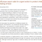 Imagem da capa do documento em inglês: New WHO / Europe report calls for urgent action to protect children from digital marketing of food.