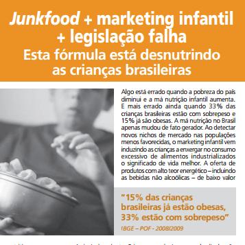 Imagem do informativo: Junkfood mais marketing infantil mais legislação falha.