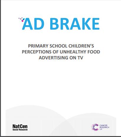 Imagem da capa do livro em inglês: AD Brake. Primary School Children's Perceptions of Unhealthy Food Advertising on TV.