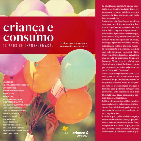 Imagem da capa do livro Criança e consumo. 10 anos de transformação.