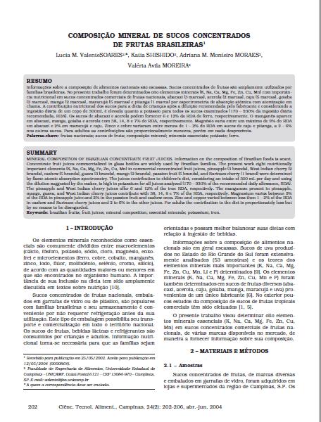 Imagem da capa do documento: Composição mineral de sucos concentrados de frutas Brasileiras.