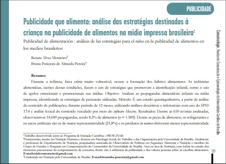 Imagem da capa do documento: Publicidade que alimenta: análise das estratégias destinadas à criança na publicidade de alimentos na mídia impressa brasileira.