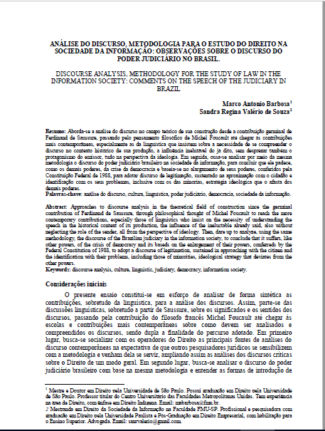 Imagem da capa do documento: Análise do discurso, metodologia para o estudo do direito na sociedade da informação: Observações sobre o discurso do poder judiciário no Brasil.
