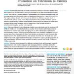 Imagem da capa do documento em inglês: Children's Food and Beverage Promotion on Television to Parents.