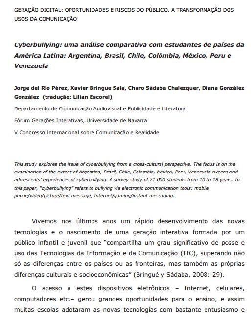 Imagem da capa do documento: Cyberbullying: uma análise comparativa com estudantes de países da América Latina: Argentina, Brasil, Chile, Colômbia, México, Peru e Venezuela.