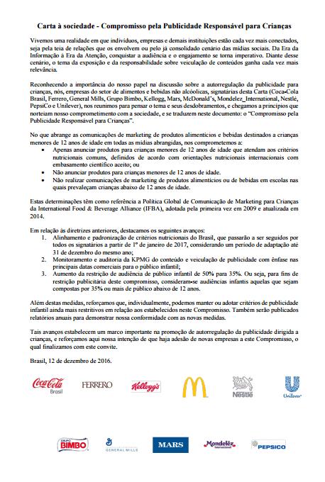 Imagem do documento: Carta à sociedade - Compromisso pela Publicidade Responsável para Crianças.