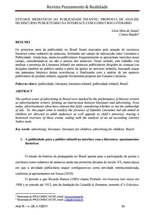 Imagem da capa do documento: Estudos Mediáticos da publicidade infantil: proposta de análise do discurso publicitário na interface com o discurso literário.