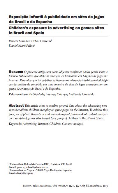 Imagem da capa do documento: Exposição infantil à publicidade em sites de jogos do Brasil e da Espanha.